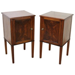 Pair of Edwardian Inlaid Mahogany Bedside Cupboards
