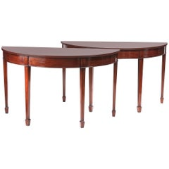 Pair of Edwardian Mahogany Demilune Console Tables