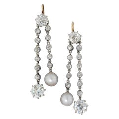 Pair of Edwardian Natural Pearl and Diamond Drop Earrings