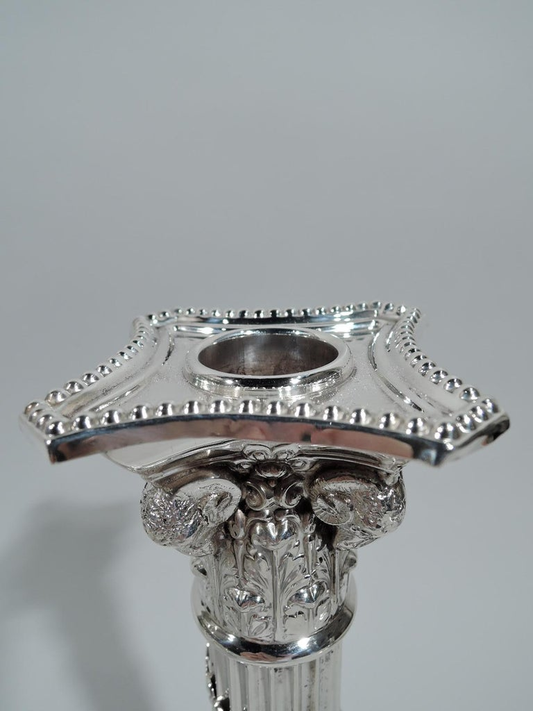 Neoclassical Revival Pair of Edwardian Neoclassical Sterling Silver Column Candlesticks For Sale