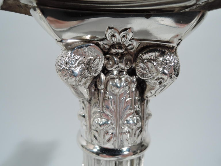 American Pair of Edwardian Neoclassical Sterling Silver Column Candlesticks For Sale