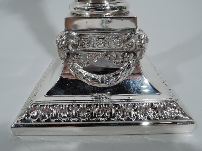 20th Century Pair of Edwardian Neoclassical Sterling Silver Column Candlesticks For Sale