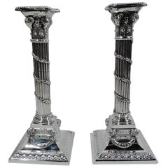 Pair of Edwardian Neoclassical Sterling Silver Column Candlesticks