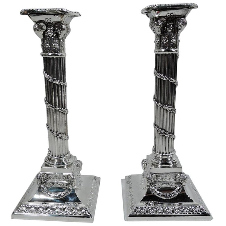 Pair of Edwardian Neoclassical Sterling Silver Column Candlesticks For Sale