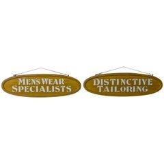 Pair of Edwardian Oak Framed Tailors Signs