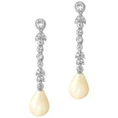 Pair of Edwardian Pearl and Diamond Drop Earrings