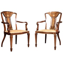 Pair of Edwardian Rosewood Inlaid Armchairs
