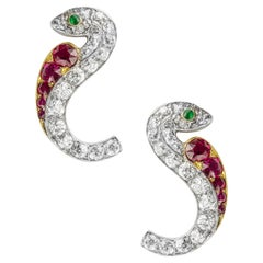 Pair of Late Victorian Ruby and Diamond Serpent Earrings