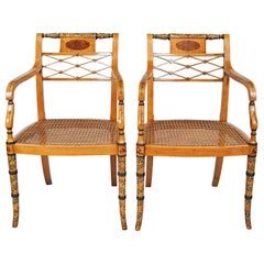 Pair of Edwardian Satinwood Armchairs