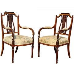 Pair of Edwardian Satinwood Armchairs