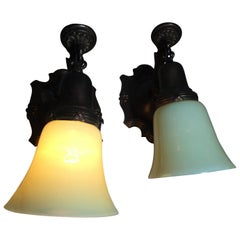 Pair of Edwardian Sconces with Vaseline Glass Shades, circa 1910