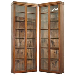 Pair of Edwardian Walnut Full Length Tall Library Exhibition Bookcases
