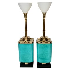 Pair of Edwin Cole for Stiffel Aqua Ceramic & Brass Table Lamp with Glass Shades