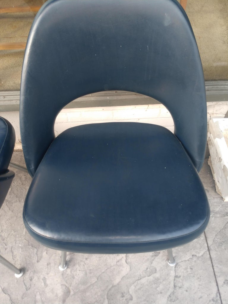 Plated Pair of Eero Saarinen Executive Side Chairs For Sale