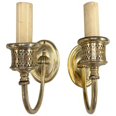 Pair of EF Caldwell Art Deco Period Silvered Reticulated Sconces, circa 1900