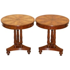 Pair of E.G Hudson Regency Drum Style Side End Wine Lamp Tables Inc Four Drawers