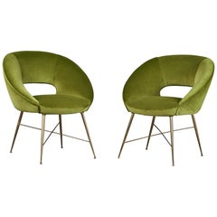 Pair of Egg Shaped Modernist Italian Armchairs, 1950s