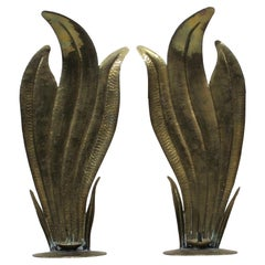 Pair of Egidio Casagrande Italian Hand-Hammered Brass Candle Wall/Table Sconce's