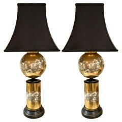 Pair of Églomisé Glass Table Lamps Attributed to Maison Jansen