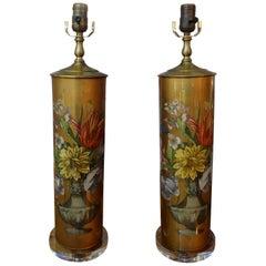 Pair of Églomisé Lamps with Floral Design