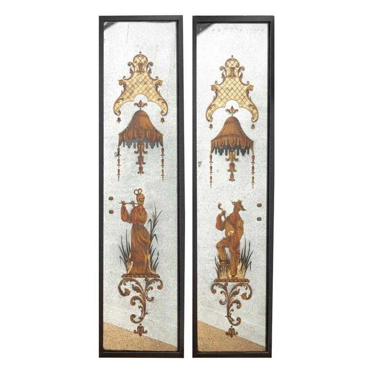 Pair of Eglomized Mirrors, Asian Musicians, att to Maison Jansen, France 1940s For Sale
