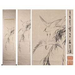 Pair of Egrets Bird Scene Meiji Period Scroll Japan 19c Artist Kinryo Ishi