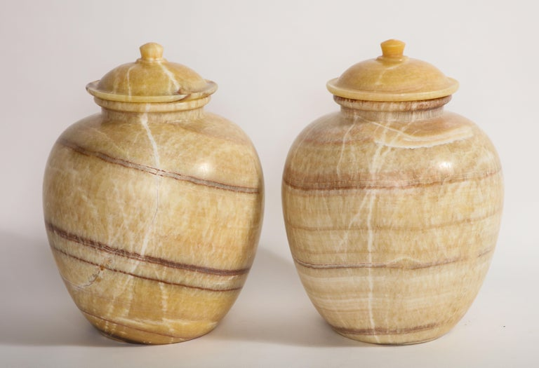 Italian Pair of Egyptian Midcentury/Art Deco Style Honey Alabaster Marble Covered Vases For Sale