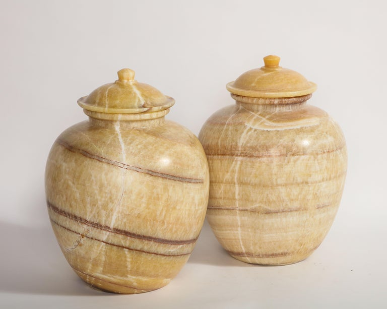 Hand-Carved Pair of Egyptian Midcentury/Art Deco Style Honey Alabaster Marble Covered Vases For Sale