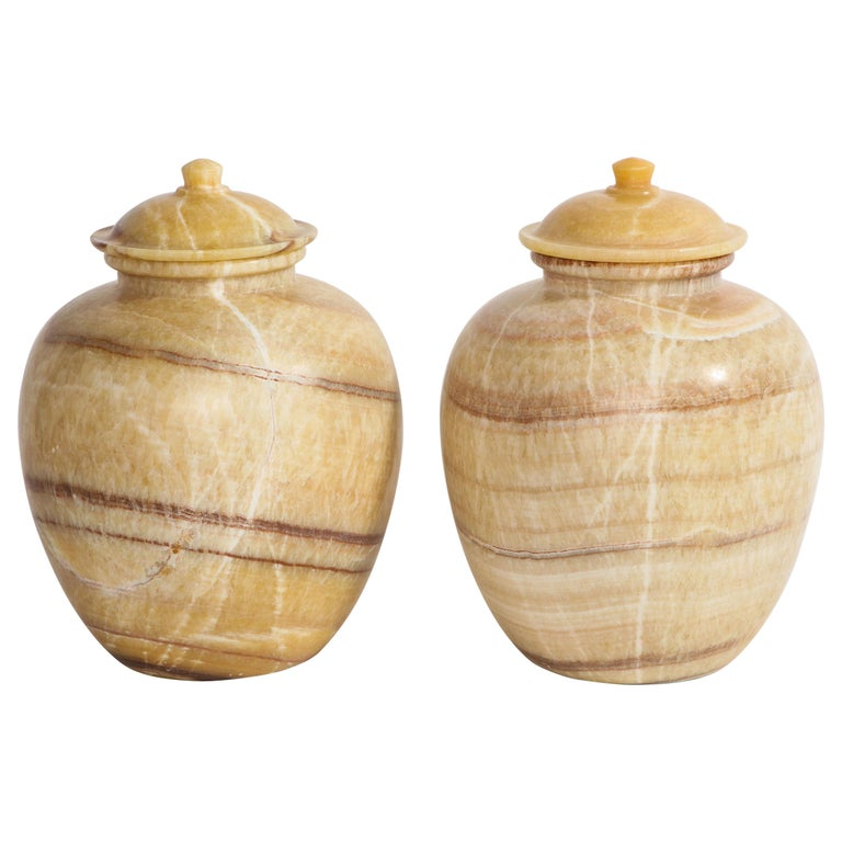Pair of Egyptian Midcentury/Art Deco Style Honey Alabaster Marble Covered Vases For Sale