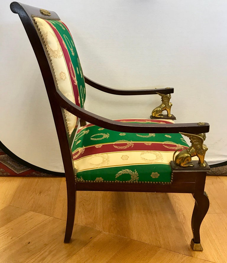 Mid-20th Century Pair of Egyptian Revival Armchairs Bronze Ormolu Mounts Mahogany Empire For Sale
