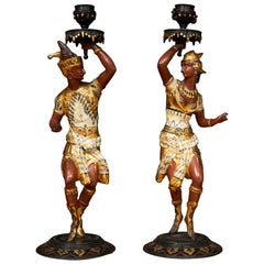 Pair of Egyptian Revival Cold Painted Candleholders