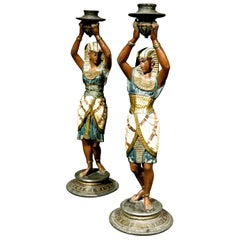 Pair of Egyptian Revival Cold Painted Figural Candlesticks, Austria Circa 1925