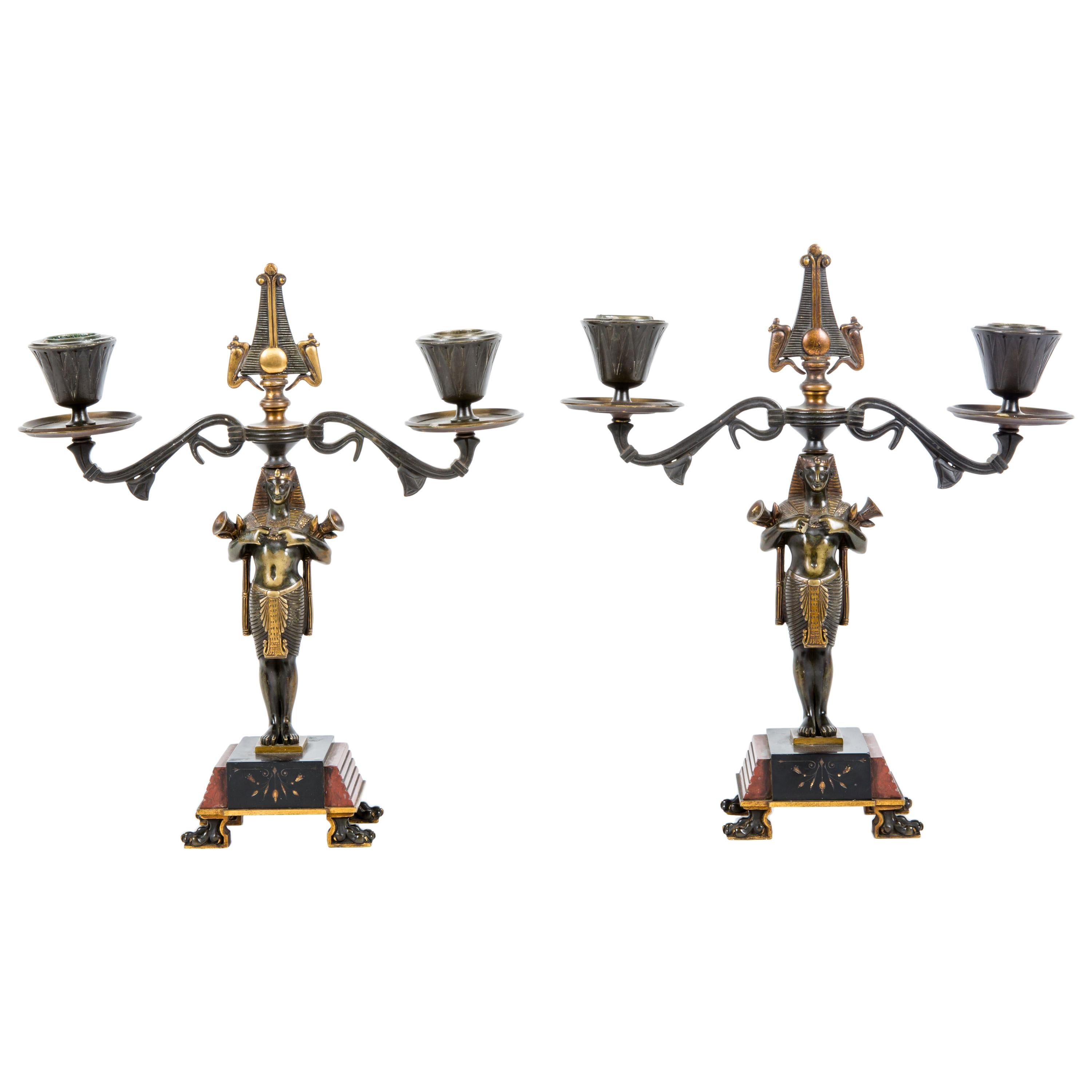 Pair of French Egyptian Revival Figural Candlestick by Ferdinand Barbedienne