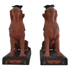 Pair of Egyptian Sphinxes in Rosso with Black, Wedgwood, circa 1820