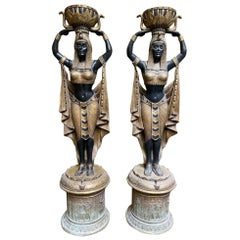 Pair of Egyptian Woman on Plinths, Life-Size
