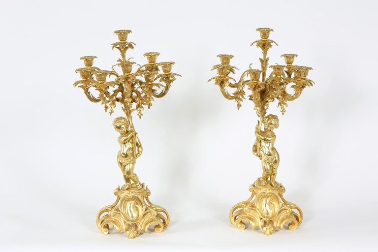 Pair Eight Armed Gilt Bronze Candelabras For Sale At 1stdibs