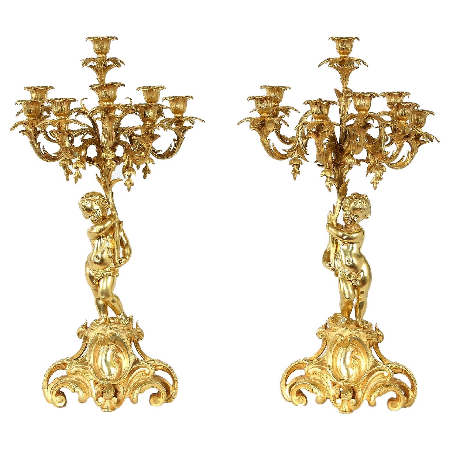 Pair Eight Armed Gilt Bronze Candelabras