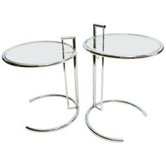 Pair of Eileen Gray Iconic E1027 Adjustable Chrome Metal and Glass Side Tables
