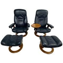 Pair of Ekornes Recliners Ottoman Chairs Danish Scandinavian Modern Ekornes