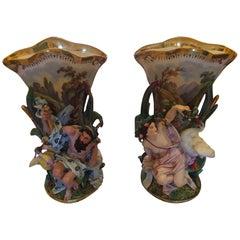 Pair of Elaborate Old Paris Porcelain Figural Vases