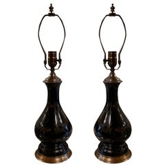 Pair of Electrified Black Glass Lamps