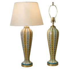 Pair of Electrified Lamps Keramis Art Deco vase by Charles Catteau for Boch