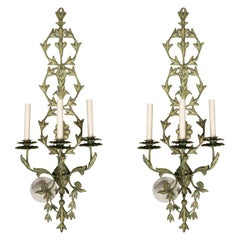 Pair of Electrified Triple Branch Tole Wall Sconces