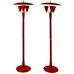 Pair of Elegant 1970s Red Metal Floor Lamps in the Manner of Tony Duquette