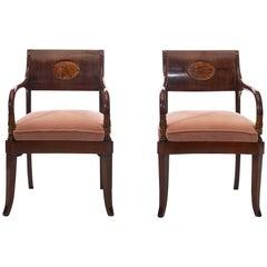 Pair of Elegant 19th Century Danish Empire Armchairs Mahogany Veneered Backrests