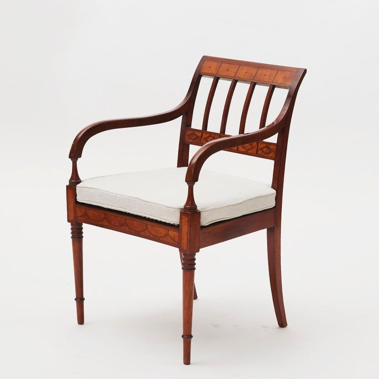 Birch Pair of Elegant 19th Danish Empire Armchairs For Sale