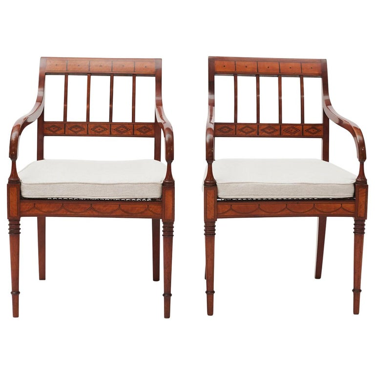 Pair of Elegant 19th Danish Empire Armchairs For Sale