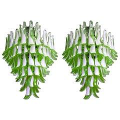 Pair of Elegant 82 Petals Chandeliers, Murano