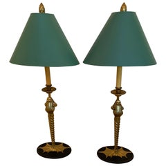 Pair of Elegant and Whimsical Brass Frog Motife Tall Table Lamps by Chapman