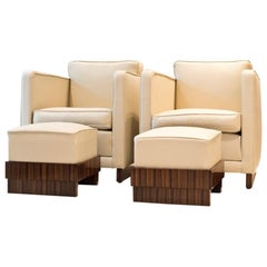 Pair of Elegant Art Deco Armchairs with Footstools